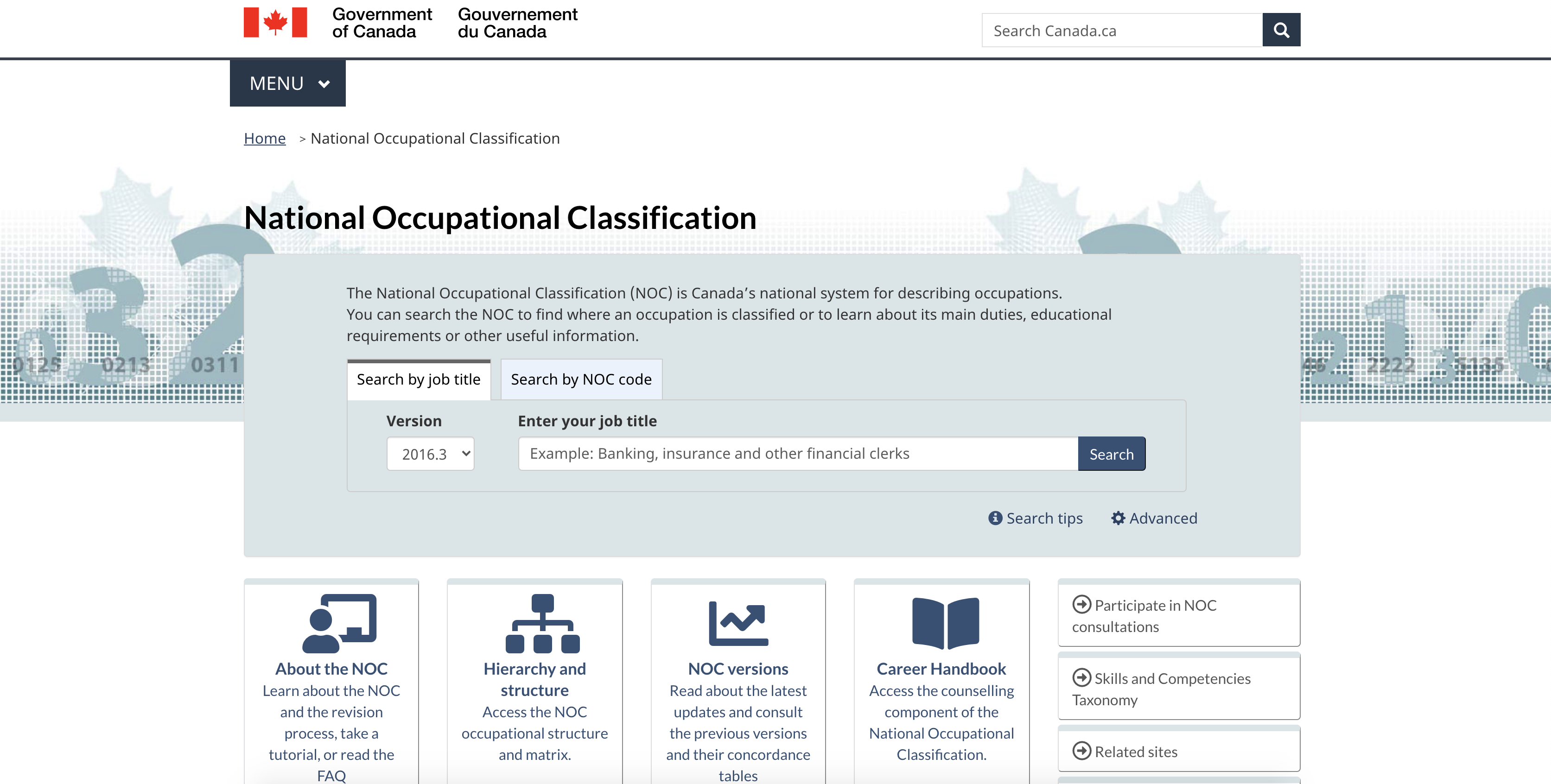 National Occupational Classification (NOC)